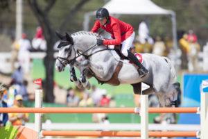 Rio de Janeiro, 19.8.2016, Pferdesport - Olympische Spiele Rio de Janeiro, Springen. Individualvertung, Jumping Individual. Martin FUCHS (SUI) mit Clooney.